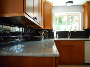 Silver Lake WA Kitchen Ceramic Tile Light Granite Countertop