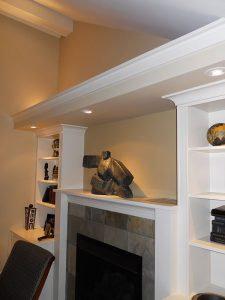 Addition Remodel Fireplace Mantel Custom Bookshelf Cabinet Edmonds WA