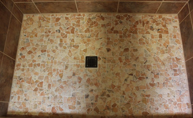Blog Bath Shower Remodel Island Pebbles Pan Tile